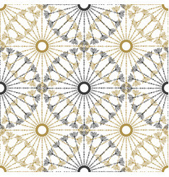 seamless geometric vintage pattern black and gold vector image