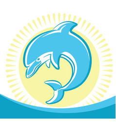 Dolphin jumping in water waves symbol of seascape vector