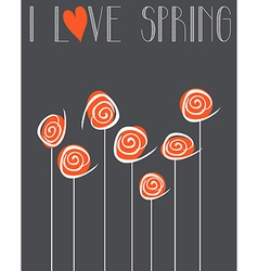 I love spring chalkboard background vector image vector image