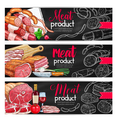 meat sausage chalk sketch banner for bbq design vector image vector image