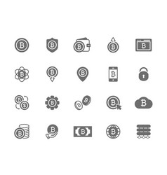 set of bitcoin symbol or icon investments vector image