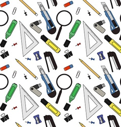 Stationery tools pattern vector image