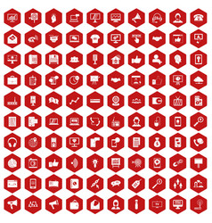100 help desk icons hexagon red vector