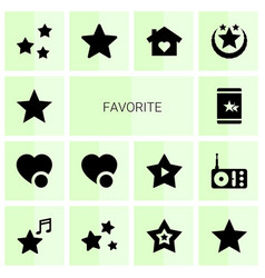 14 favorite icons vector