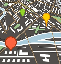 Abstract city map with color pins vector image