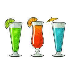 alcohol cocktail set vintage engraving vector image