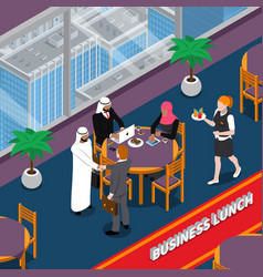 arab persons business lunch isometric vector image