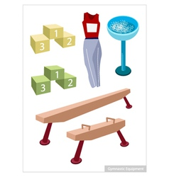 Artistic Gymnastic Equipments on A White vector image