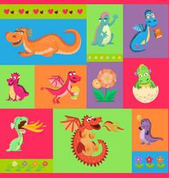 baby dragons psattern cartoon vector image