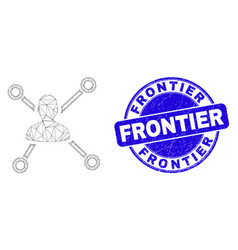 Blue distress frontier seal and web mesh person vector