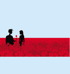boy and girl on a field red roses vector image