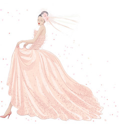 Bride in pink dress vector