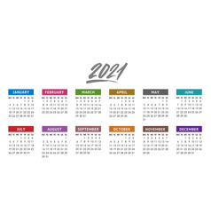 calendar for 2021 year week starts monday vector image