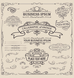 Calligraphic and ribbon banner design elements vector