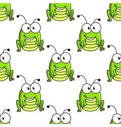 Cartoon green grasshopper character seamless vector