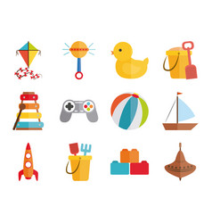 Cartoon toy kite rattle duck ball boat rocket vector