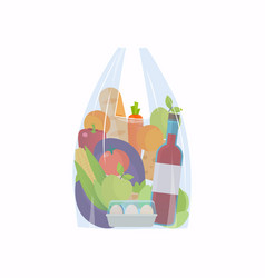 Cellophane bag with foods healthy organic fresh vector