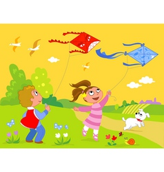 Children playing with kites vector image