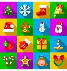 Christmas icons set flat style vector image