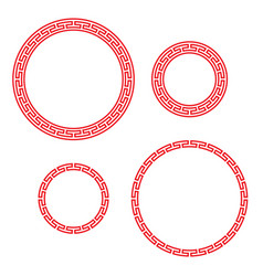 classic chinese red round window and photo frame vector image