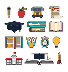 color set college education items with educational vector image