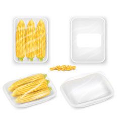 corn packaging tray mockup set realistic vector image