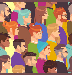 crowd seamless pattern different people group vector image