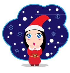 Cute baby girl santa claus vector