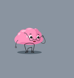 Cute human brain organ pink cartoon character in vector