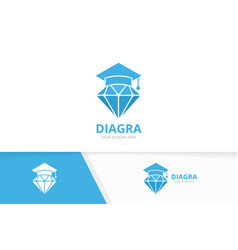 diamond and graduate hat logo combination vector image