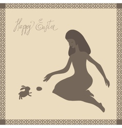 Easter card with girl and rabbit in light-brown vector image