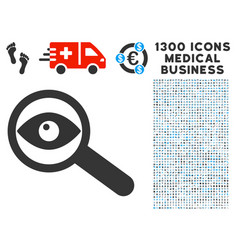 Examine eye icon with 1300 medical business icons vector