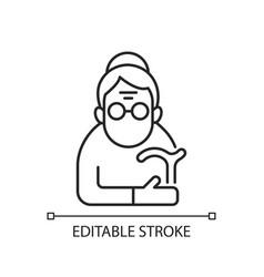 female pensioner linear icon vector image