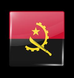 flag angola glossy icon square shape vector image