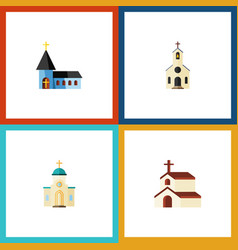 flat icon building set of religion christian vector image