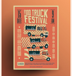 food truck street food festival poster vector image