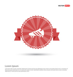 Football boot icon - red ribbon banner vector