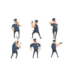 funny male policeman cartoon characters set vector image
