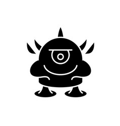 funny monster black icon sign on isolated vector image