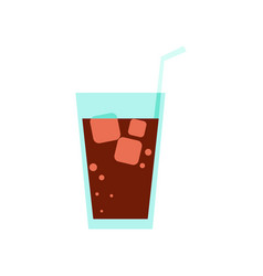 glass of cola drink simple flat vector image