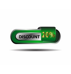 Green 20 percent discount button vector image