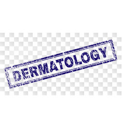 Grunge dermatology rectangle stamp vector