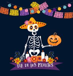 halloween dia de los muertos greeting card vector image