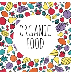 Hand-drawn organic food concept Round shape with vector