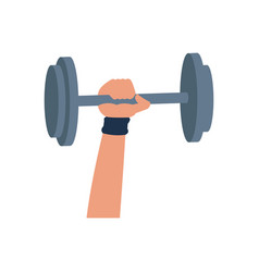 Hand holding barbell sport icon vector