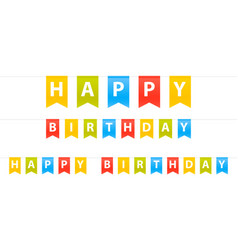 happy birthday sign flags set isolated in white vector image