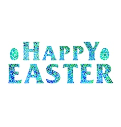 Happy Easter lettering with eggs vector image