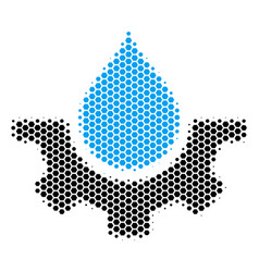 Hexagon halftone water service icon vector