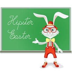 Hipster Easter Rabbit Teacher Cartoon vector