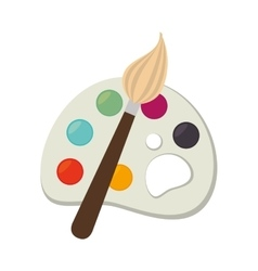 icon palette paint brush color isolated vector image